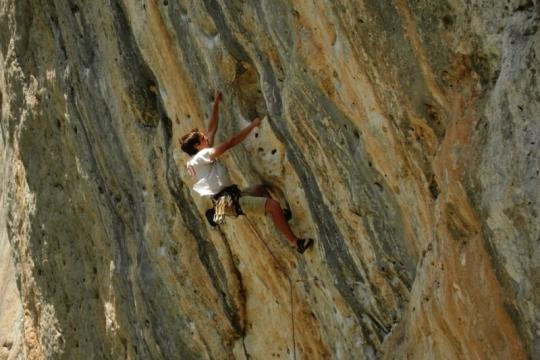 Rock climbing in Céüse cascade