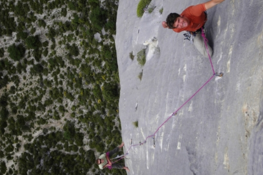 Multi pitch climbing in Verdon