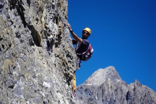 Multi pitch climbing in Ubaye