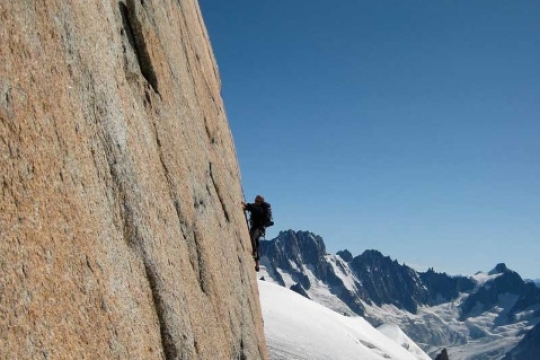 Sunny rock climbing on Chamonix granite