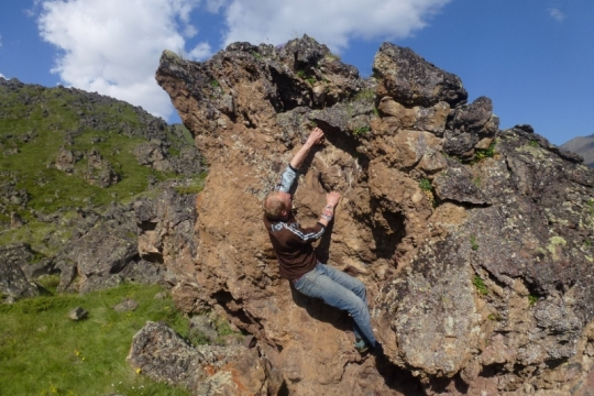 Rock climbing around Elbrouze base camp, Russia