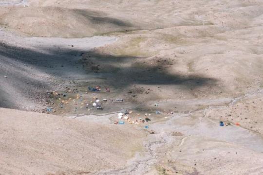 vue sur le camp de base depuis C1